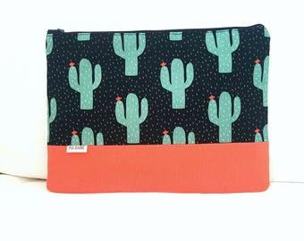 Large Zipper Pouch, Cactus Pouch, Cactus Clutch, Makeup Bag, Canvas Bag, Birthday Gift, Teachers Gift.