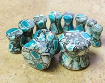 Abstract Stone Blue and Grey Organic Double-sided Flare Gauges/plugs 2 Piece (A/6)