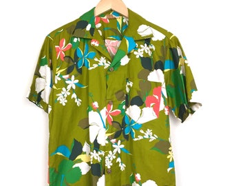 Vintage Royal Hawaiian Floral Green/Neon Orange/Multi Color All Over Print Button Up Shirt - (Medium)