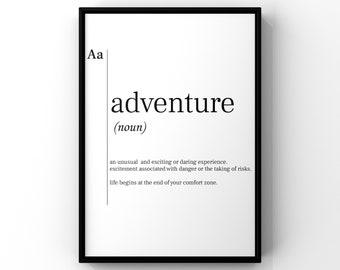 Typography Prints Black and White Wall Art Adventure Awaits Adventure Nursery Decor Gift for Travel Playroom decor Adventure Print
