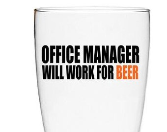 Gift for Office Manager, Gift for Boss, Office Manager Gift, Gift for Manager,  Pilsner Glass