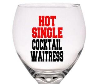Gift for Waitress, Birthday Gift, Waitress Gift, Gift for Her,  Red Wine Glass