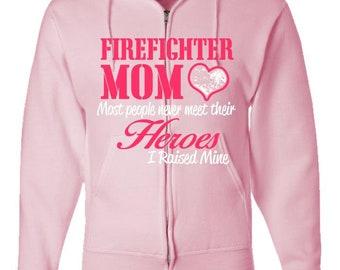Firefighter Gift Mom, Firefighter Shirt, Fireman Mom Gift, Mother Day Gift, Gift for Her,  Adult Zipper Hoodie