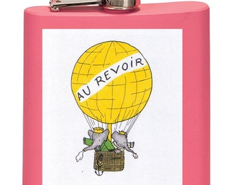 Babar The Elephant Leaving In Hot Air Balloon, Vintage Design by Jean De Brunhoff, Flask