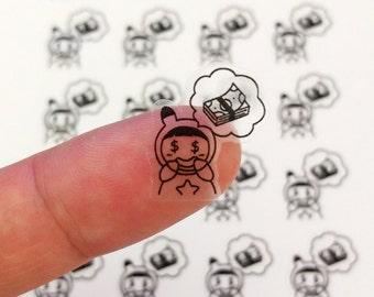 B001 Payday sticker, character sticker, money sticker, clear sticker, ECLP sticker, passion planner, happy planner