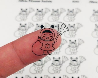 B003 Clear cleaning sticker, cleaning label, cleaning icon, clear sticker, ECLP sticker, passion planner, happy planner