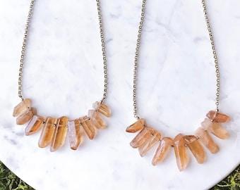 Orange Aura Quartz Crystal Necklace