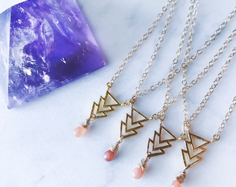 Gold Triangle Arrow Pendant with Wire Wrapped Peach Moonstone Briolette on Gold Chain