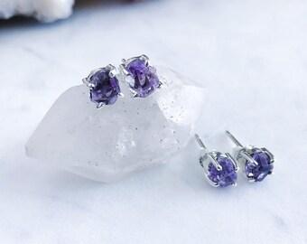 Tiny Raw Amethyst Crystal Stud Earrings in Sterling Silver