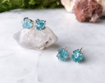 Raw Aquamarine Stud Earrings in Sterling Silver