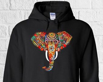 5754e13cb8099 Elephant Ethnic Pattern Colourful Art Men Women Unisex Top Hoodie Sweatshirt  578
