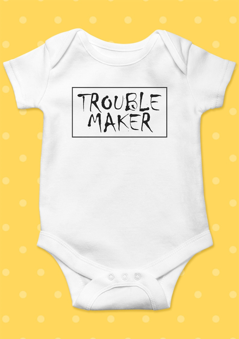 3dfbc1375225 Trouble Maker Baby Funny Baby Grow Funny Baby Onesie Funny