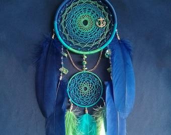 Dream Catcher Sea Dreamcatcher Song of the Sea Anchor Ocean Dreamcatchers Blue Green Turquoise Boho Feathers Seashells Sailor Ship Beacon