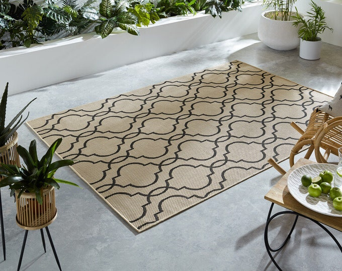 Featured listing image: Florence Alfresco Milan Outdoor and Indoor Rugs Beige and Black