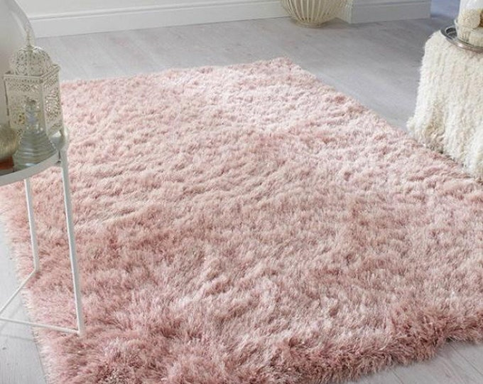 Featured listing image: Blush Pink Sparkle Dazzle Long Pile Shaggy Rug