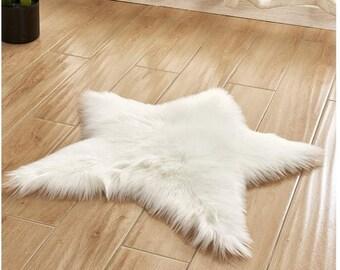 Faux Fur Sheepskin White Ivory Star Rug