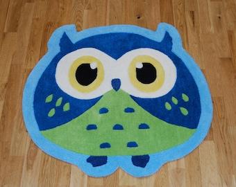 Kids Hand Carved Blue and Green Owl Childrens Bedroom Rug