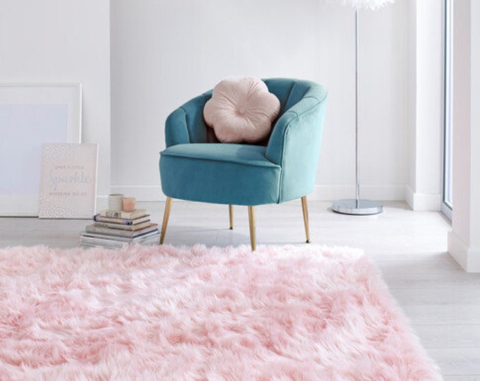 Featured listing image: Faux Fur Sheepskin Pink Rug