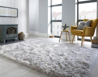 Faux Fur Sheepskin Grey Rug