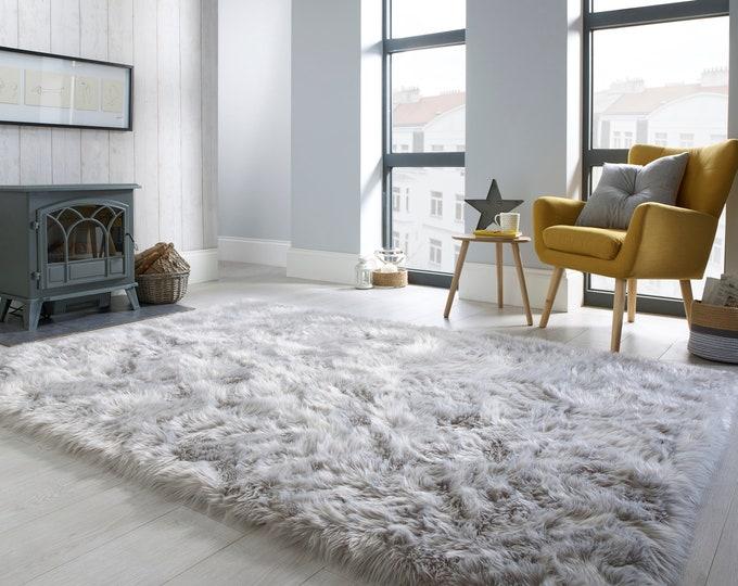 Featured listing image: Faux Fur Sheepskin Grey Rug