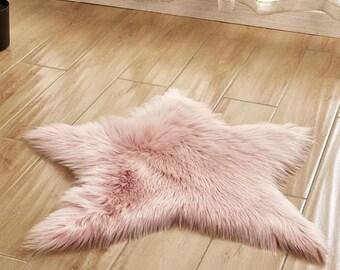 Faux Fur Sheepskin Pink Star Rug