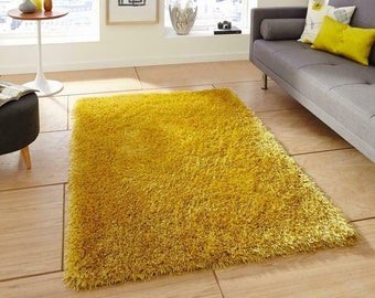 Yellow Multi Textured Thick Shaggy Rug