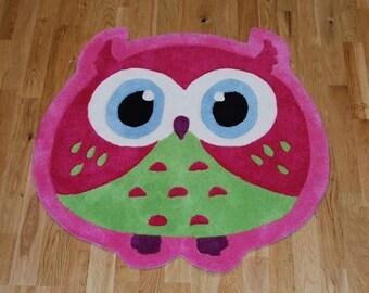 Kids Hand Carved Pink and Green Owl Childrens Bedroom Rug