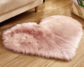 Faux Fur Sheepskin Pink Heart Rug