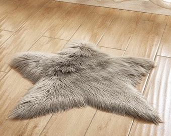 Faux Fur Sheepskin Grey Star Rug