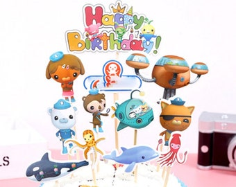 1set Pack Kids Girls Favors Decoration Baby Shower Birthday Events Party Cake Topper Octonauts Theme Cupcake Toppers With Sticks