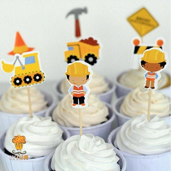Pleasant 24Pcs Construction Cake Toppers Dump Trucks Cupcake Picks Etsy Funny Birthday Cards Online Eattedamsfinfo
