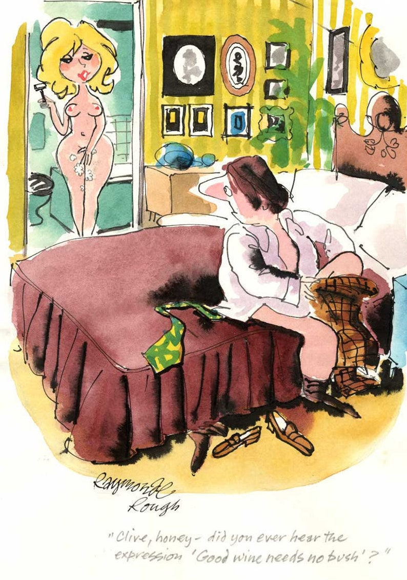 Original Preliminary Playboy Cartoon by the late Roy Raymonde image 0