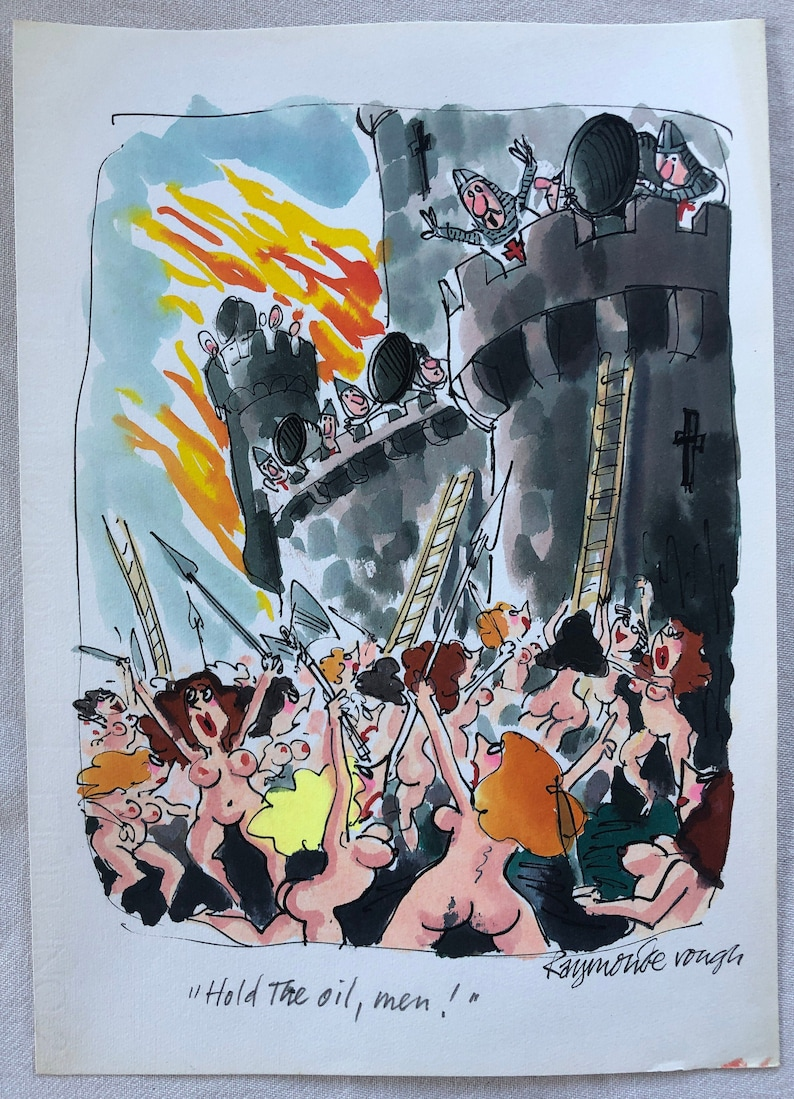 Hold the oil  original preliminary by Playboy Cartoonist Roy image 0