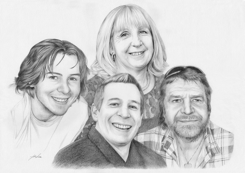family pencil portrait drawing from a photo. Custom portrait