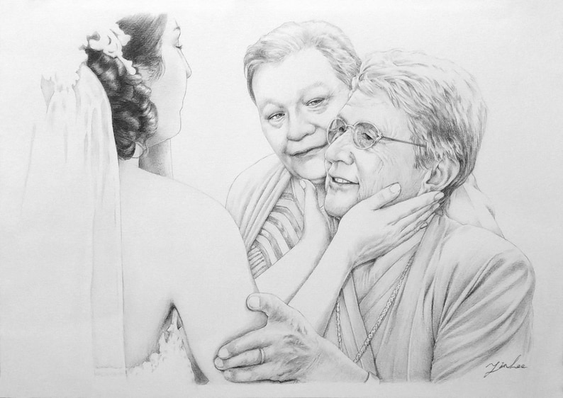 family Custom portrait baby girl and boy pencil portrait drawing from a photo.