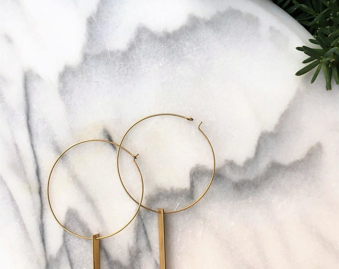 Featured listing image: DIVINA Earrings / Geometric Hoops / Handmade / Brass / Statement Earrings / Gold / Minimalist