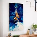 Abstract Fluid Large Painting, Colorful, Ocean, Beach, Acryl, Art, Original Handmade, Acrylic Modern Art, Blue, Gold, White, Light Blue