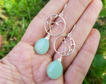 Spring Green Chalcedony and Sterling Silver Earrings // Rebirth // New Beginnings // Growth // Handmade Earrings // Seafoam Green Chalcedony