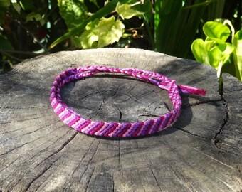 Friendship Bracelet for ankle (pink, magenta, purple)