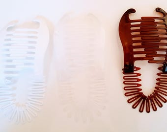 3 Pcs Plastic interlocking banana clip hair pony tail comb flex coil stretch spider clincher( White-Clear-Brown).