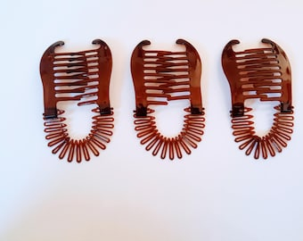3 Pcs Plastic interlocking banana clip hair pony tail comb flex coil stretch spider clincher( Brown).