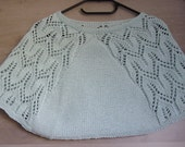 Warm shoulder, cape, capelet, hand-knitted, tricky green pastel, with lace, round neckline, size XS S M (34 36 38) for woman