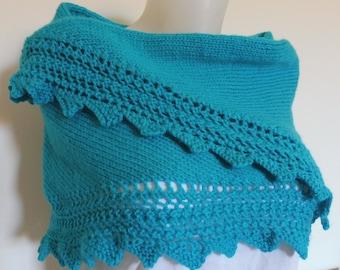 Châle, chauffe épaule, étole tricoté main, bordure ajourée,en dentelle,  finition crantée, bleu, taille unique, pour femme be1e27a0ca3
