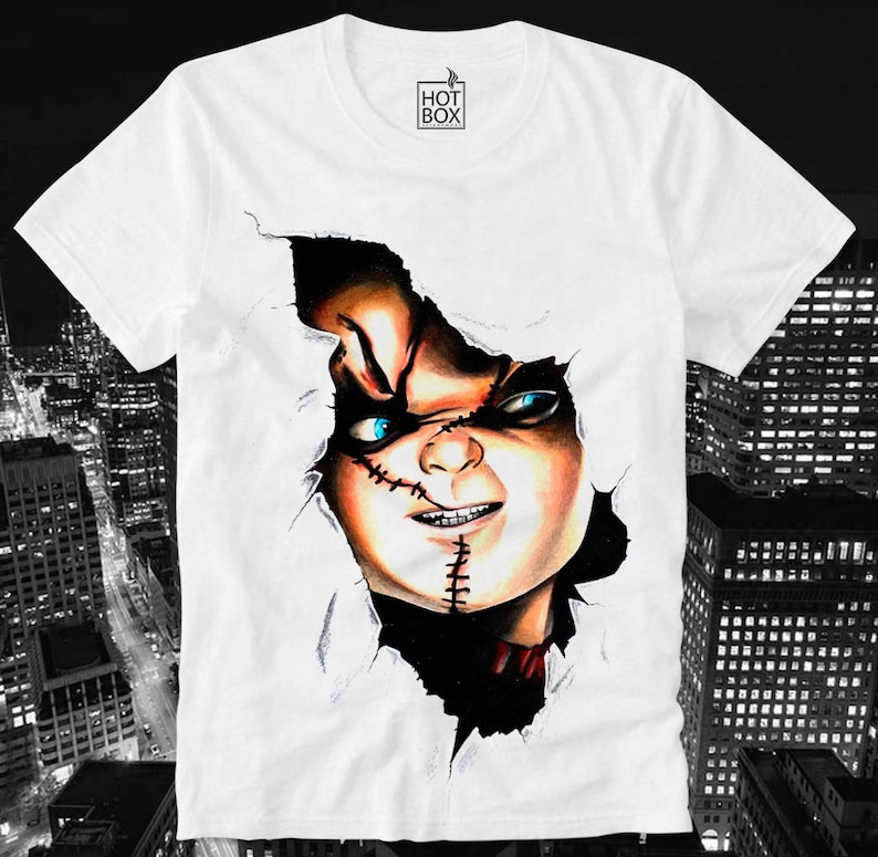 c4f65814d49ee T Shirt HOTBOX Chucky Child's Play Horror B Movie Scary Splatter Hipster