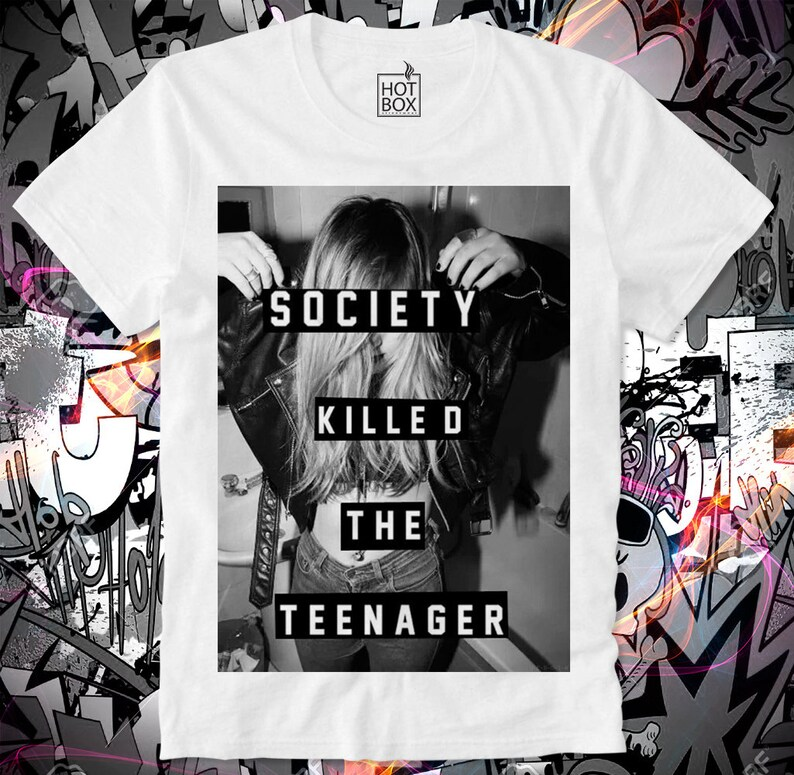 443855bc12e35 T Shirt HOTBOX Society Killed the Teenager Sexy Model Kate Moss Megan Fox