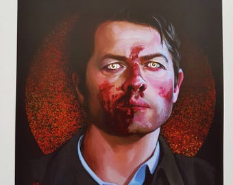 Castiel. Yellow eyes A4 poster.