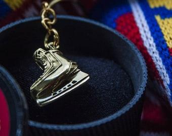 Keychain Bronze Ice Hockey Skate, Canada Hockey Gift for Sportsmen Hockey NHL Sports