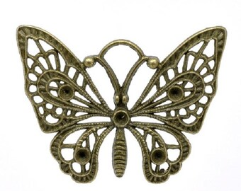 Bronze Butterfly charm pendant 48x36mm