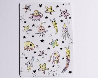 A6 Sticker Sheet: Little Creatures and Stars (Kiss Cut)