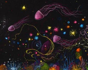 A4 Giclee Print: Deep Sea Jellyfish